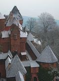 Snowy Rooftops in France. Snowy fortified castle rooftops in France Stock Images
