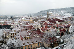 Snowy rooftops of Prague. Royalty Free Stock Photography