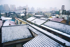 Snowy rooftops in Tokyo Stock Image