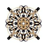 Snowy rosette or flower, oriental ornament on the white background, winter holiday design stock illustration