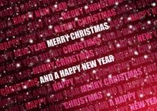 Snowy-roter Weihnachtstext Lizenzfreie Stockbilder