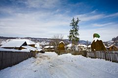 Snowy rural landscape Royalty Free Stock Photo