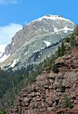 A Snowy San Juan Mountain Peak. A shot of the 14,000 foot San Juan Mountain Range in Ouray, Colorado Royalty Free Stock Photo