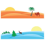 Snowy and sandy deserts. Two pictures in one desert with a camel, the second snow and deer Royalty Free Stock Photo