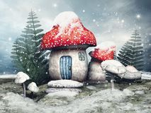 Fairy cottage on a winter meadow. Snowy scene with a fairy cottage, mushrooms and fern on a winter meadow royalty free illustration