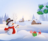 Snowy scene vector illustration