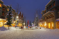 Snowy Scene of Winter Shopping Stock Image