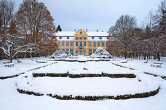 Snowy scenery of Abbots' Palace in Oliwa Royalty Free Stock Photo