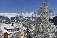 Snowy Scenery in St. Moritz Stock Images