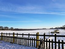 Snowy scenes at hardwick hall Royalty Free Stock Photo