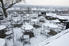 Snowy seating Stock Image