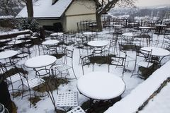 Snowy seating Stock Images