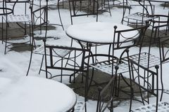 Snowy seating Royalty Free Stock Photo