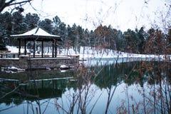 Snowy See mit Pagode lizenzfreie stockfotos