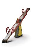 Snowy seesaw. Seesaw from playground during snowy weather Royalty Free Stock Photography