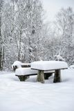 Snowy Service Area. Service area with snowy bench and table Stock Photos