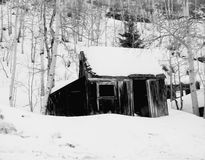 Snowy shed stock images