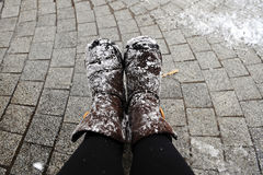 Snowy shoes Royalty Free Stock Photo
