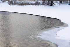 Snowy shore. Snowy Bank into the river Royalty Free Stock Photography