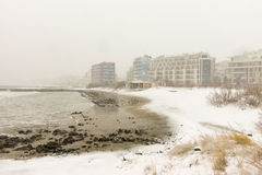 Snowy shore of the Black Sea to the Bulgarian Pomorie, on December 31 Stock Photography