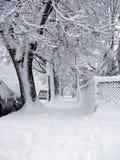 Snowy sidewalk. Snowy sidewalk on the east coast royalty free stock photos