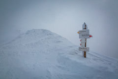 Snowy signpost at the summit of Kasprowy Wierch, Tatra Mountains Royalty Free Stock Photos