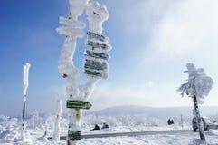 Snowy signposts Stock Photos