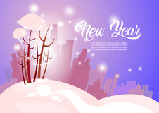 Snowy Silhouette City Happy New Year Merry Christmas Greeting Card Banner Royalty Free Stock Photography