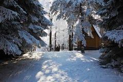 Snowy ski hotel Royalty Free Stock Photos