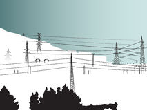 Snowy Ski Landscape With Pylons Stock Photos
