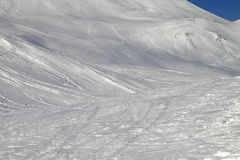 Snowy skiing piste Royalty Free Stock Photo