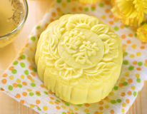 Snowy skin lotus paste mooncake Stock Photography
