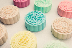 Snowy skin mooncakes. Chinese mid autumn festival foods. Traditi Royalty Free Stock Photos