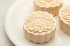 Snowy skin mooncakes. Traditional Chinese mid autumn festival fo Stock Images