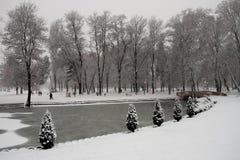 Snowy Skopje park Stock Photo