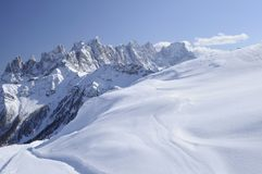 Snowy slope and Pale range, dolomites Royalty Free Stock Images