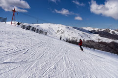 Snowy slope in 3-5 Pigadia ski center, Naoussa, Greece Royalty Free Stock Image