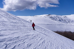 Snowy slope in 3-5 Pigadia ski center, Naoussa, Greece Stock Images