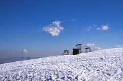 Snowy slope in 3-5 Pigadia ski center, Naoussa, Greece Royalty Free Stock Photos
