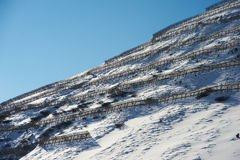 Snowy slope with protection from avalanches. In sunny day Stock Images