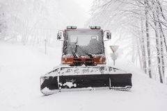 Snowy Snow plow Royalty Free Stock Image