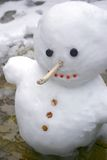 Snowy the Snowman 2. Snowman with a big nose and a big grin stock images