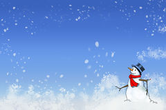 Snowy Snowman Against a Wintery Blue Background. I cool snow man in a red scarf against a swirling blustery blue background vector illustration