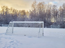 Snowy soccer field Stock Photo