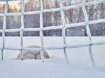 Snowy soccer field Royalty Free Stock Images