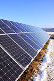 Snowy solar power Station in the winter Nature Stock Photography