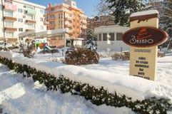 Snowy-Sommer café in der Mitte der alten Stadt von Pomorie in Bulgarien Stockbild