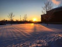 Snowy-Sonnenaufgang Lizenzfreies Stockfoto