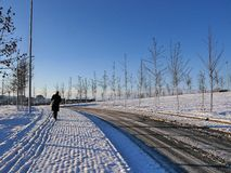 Snowy-Sonnenaufgang in Prishtina, Kosovo Lizenzfreie Stockbilder