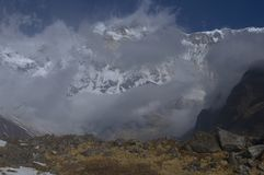 Snowy southern wall of the main peak Annapurna, eight thousandth. Trekking to Annapurna Base Camp, Nepal stock photo